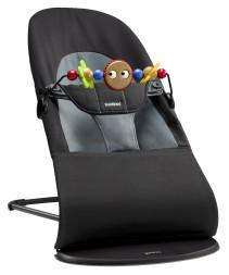 BABYBJÖRN, Babysitter Balance Soft Cotton inklusive träleksak, Svart/Grå
