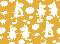 Mumin, Fondvägg, Moomin retro pattern yellow