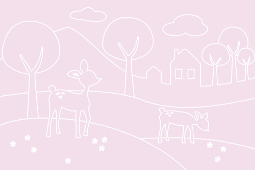 Sne Design, Fondvägg, Deer world lines pink