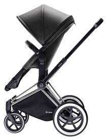 Cybex Priam 2016, 2-i-1-vagn, Svart chassi/All Terrain, Manhattan Grey, Paket