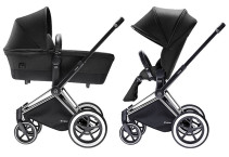 Cybex Priam 2016, Duovagn, Svart chassi/All Terrain, Happy Black, Paket
