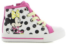 Disney Minnie Mouse, High Sneakers, Vit/Prickig