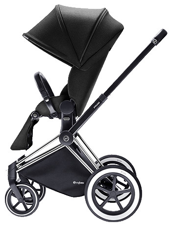 Cybex Priam 2016, Sittvagn, Chrome chassi/All Terrain, Happy Black, Paket