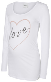 Mamalicious, Gravidtopp, Heartly Statement Jersey Top, Bright White